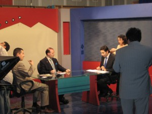 Professor Anton Caragea and Vlad Hogea giving an interview at Syria National Television