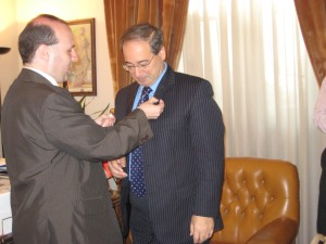 Professor Anton Caragea decorates vice-minister of foreign affairs of Syria
