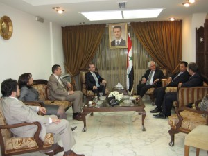 Professor Anton Caragea and romanian delegation received by Dr.Mohsen Bilal minister of information of Syria R.A