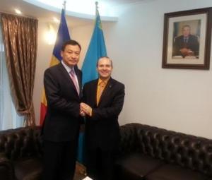 H.E.Ambassador Daulet Batrashev-President Dr.Anton Caragea