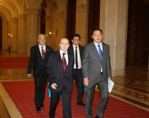 IRICE President-Anton Caragea, H.E. Ambassador Daulet Batrashev, Yerzhan Bertayev and Academician Mircea Constantinescu