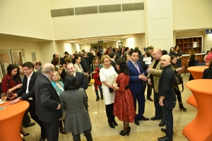 Kazakhstan Ambassador daulet batrashev speeking with members of Romanian community in Kazakhstan and professor dr. Anton Caragea speaking with Ambassador Paul Brummel and his party