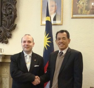 President Professor Dr. Anton Caragea and Tajul Aman Mohammad Ambassador of Malaysia