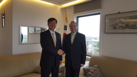 President Anton Caragea and Ambassador Kim Eun Joong -South Korea