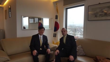 President Professor Anton Caragea and Ambassador Kim Eun Joong