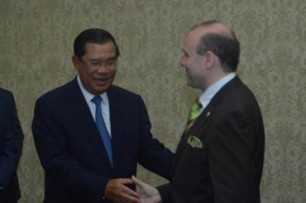 H.E. President Professor Dr. Anton Caragea and H.E. Prime Minister of Cambodia